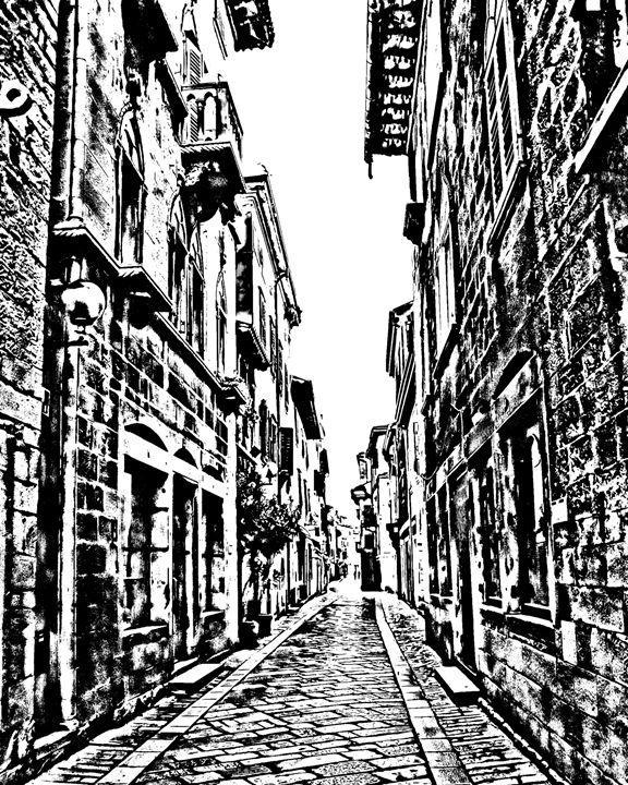 Alleyway sketch - KCBlack&White