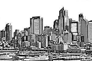 Seattle Skyline and Harbor Sketch - KCBlack&White