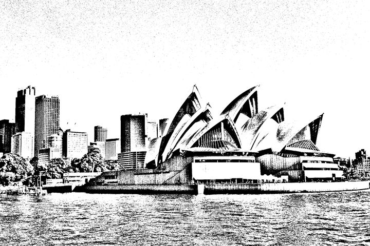 Sydney Opera House Sketch - KCBlack&White