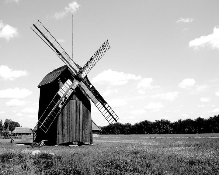 Netherlands Old Country Windmill - KCBlack&White