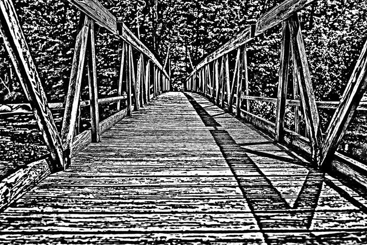 Wooden Bridge Sketch - KCBlack&White