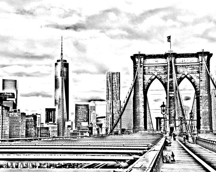 Brooklyn Bridge sketch - KCBlack&White