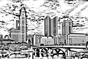 Columbus Ohio skyline sketch - KCBlack&White