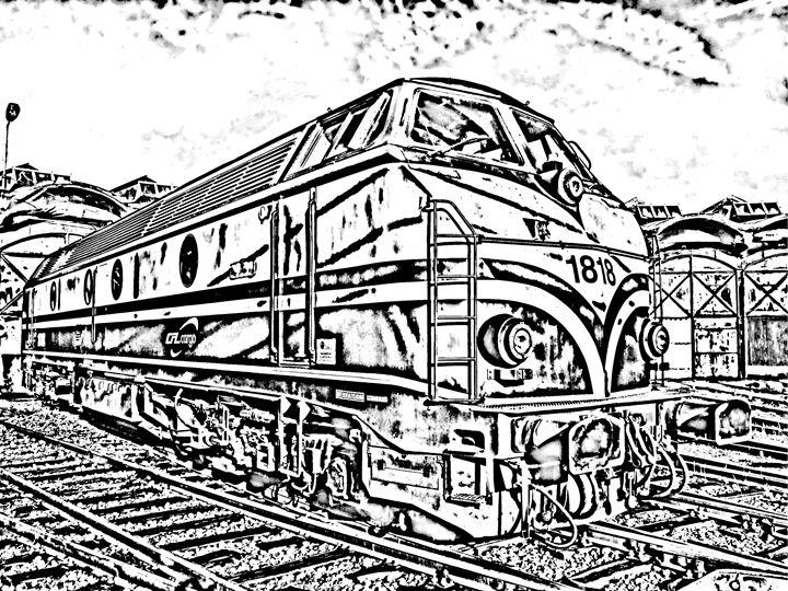 Diesel Train Sketch - KCBlack&White