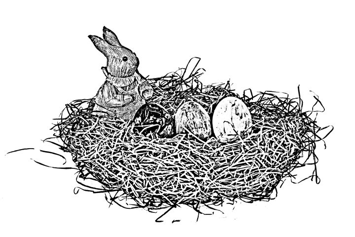 Easter basket eggs and bunny sketch - KCBlack&White