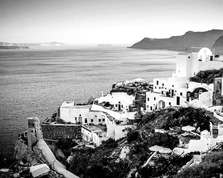 Greek sea view cliffs - KCBlack&White