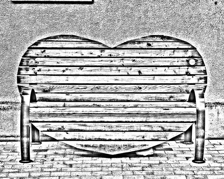 Heart Bench Sketch - KCBlack&White