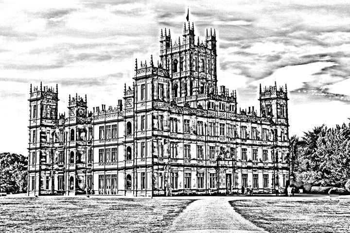 Highclere castle sketch - KCBlack&White