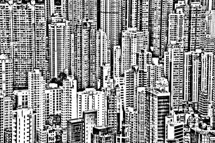 Hong Kong skyline closeup sketch - KCBlack&White