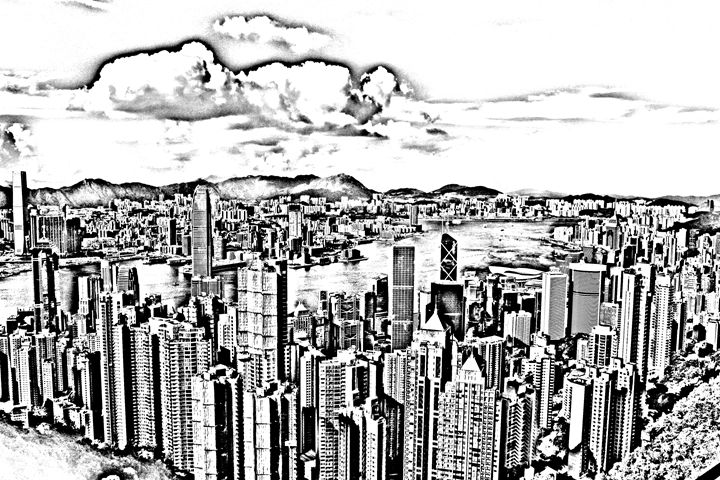 Hong Kong skyline sketch - KCBlack&White
