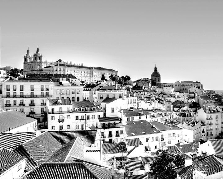 Lisbon Portugal city skyline photo - KCBlack&White