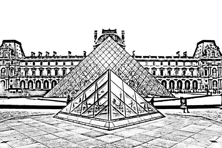 Paris France Louvre museum sketch - KCBlack&White