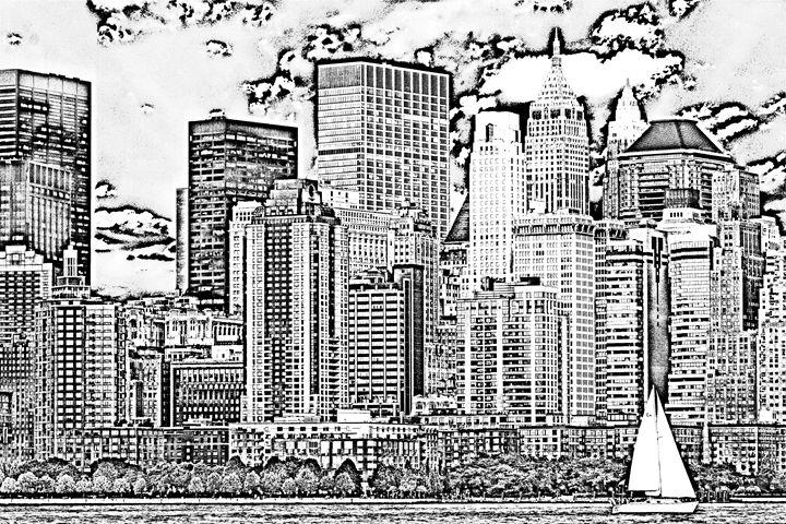 New York City skyline sketch - KCBlack&White