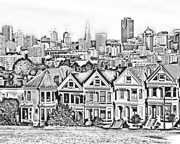 San Francisco Row Homes Sketch - KCBlack&White