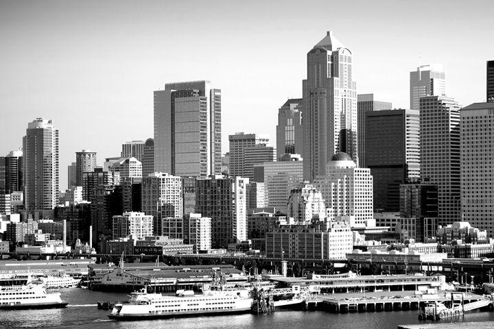 Seattle Skyline and Harbor - KCBlack&White