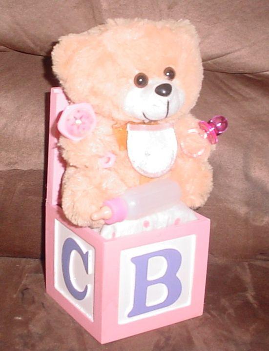 Baby Girl Teddy Bear Music Box - Carolina Keepsakes