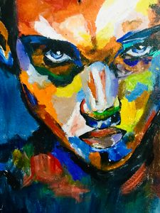 Abstract colorful portrait painting