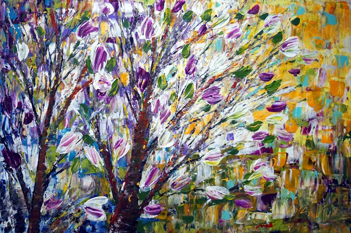 Spring Joy Blossom Magnolias - Art by Luiza Vizoli