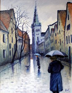 Rain in the old town - Eduard Kont