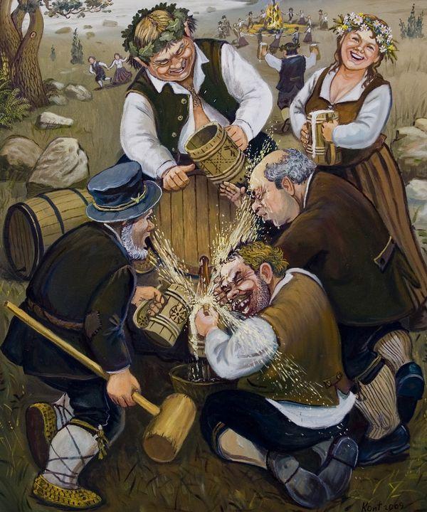 Opening a beer barrel - Eduard Kont