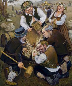 Opening a beer barrel