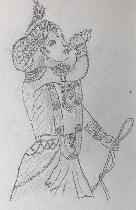 Lord Krishna - Panchajanya - Roopa's Pencil Sketches