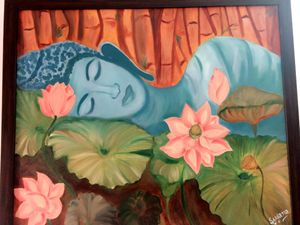 Buddha in a garden oil painting