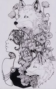 lady and foxes
