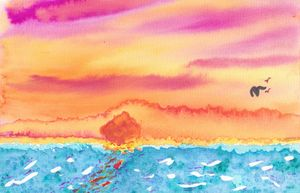 Ocean Sunset Watercolor Abstract