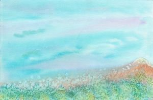 Mountain meadow abstract watercolor