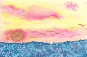 Gold Pink Ocean sunset abstract