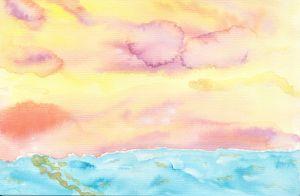Pastel Sunset over ocean watercolor