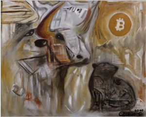 Bitcoin Bull Run Halving 2020 - Outarow Chhuong Abstract Expressionism Artwork