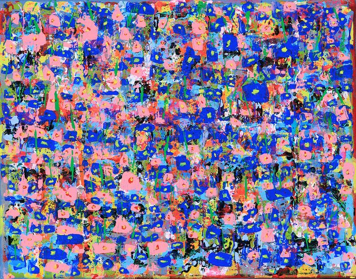 blue and pink flowers - Cherrybomb Art