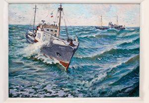 Whaler at sea