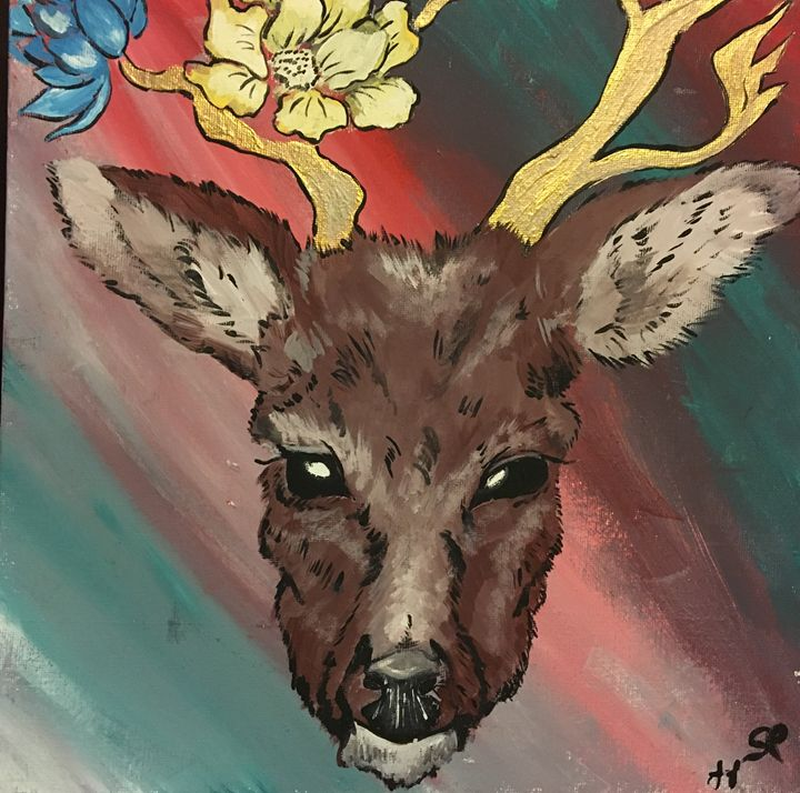 Deer with flowers - Lauren Landry