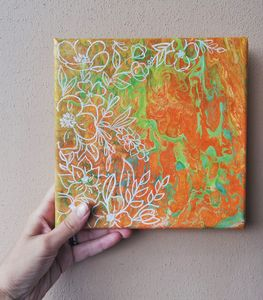 Acrylic pouring art canvas