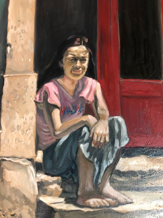 On the steps of St Anne's - Clarice Moore
