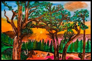 Grazing at Sunset - Roberts Art