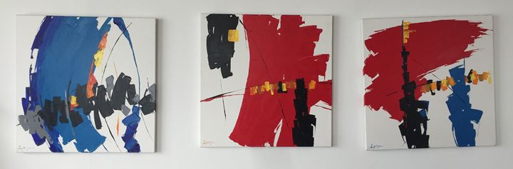 3 primary colors oil paintings - Oil paintings by knife