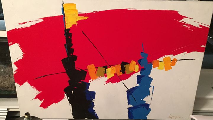 Large primary colors oil painting - Oil paintings by knife