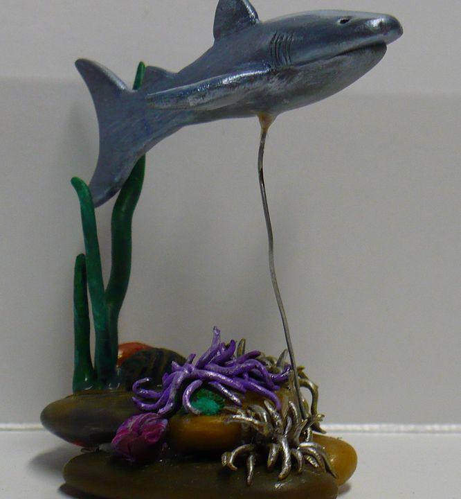 Shark Swimming Over Sea Anemones - Ostara Scarlett Designs