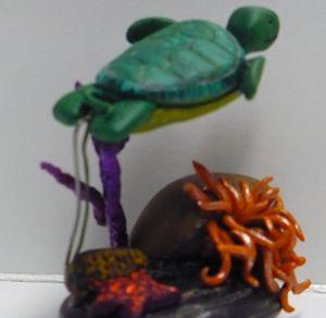 Sea Turtle Swimming Over Sea Anemone - Ostara Scarlett Designs