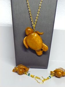 Gold Sea Turtle Pendant & Earrings