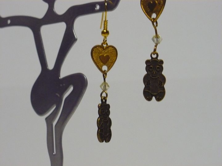 Dangling Teddy Bear Earrings - Ostara Scarlett Designs