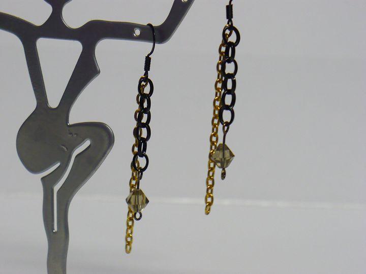 Long Black and Gold Earrings - Ostara Scarlett Designs