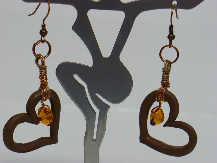 Amber and Brown Heart Earrings - Ostara Scarlett Designs