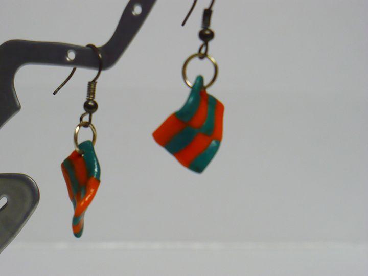 Handsculpted Earrings Orange & Aqua - Ostara Scarlett Designs