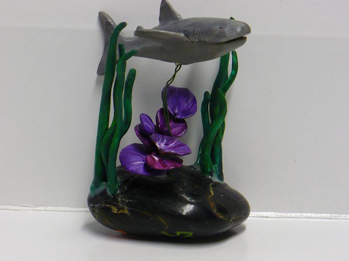 Shark Swimming Past Coral Reef - Ostara Scarlett Designs
