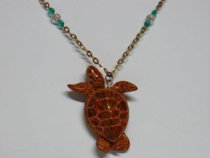 Hand-painted Sea Turtle Pendant - Ostara Scarlett Designs